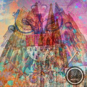 Leinwandbild Köln als Wandbild mit dem Kölner Dom im Pop-Art Format