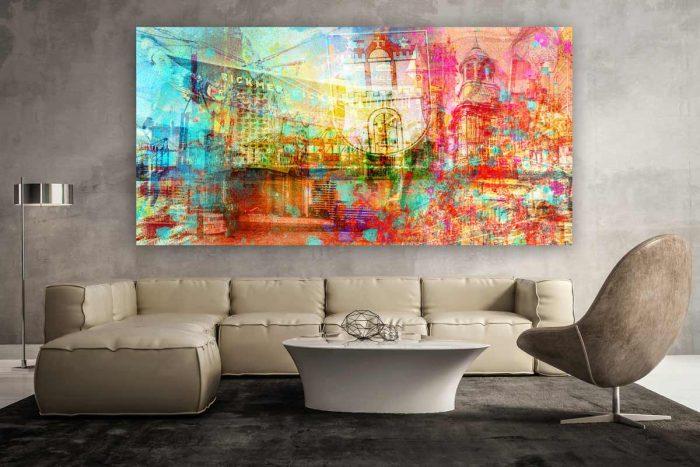 Leinwandbilder Hamburg Collage. Moderne Wandbilder im Pop-Art Style. Bilder und Motive von Elbphilharmonie, Fischmarkt, Hamburger Hafen und Michel.