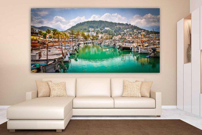 Leinwandbilder Mallorca im modernen Panorama Pop-Art Design in Acryl