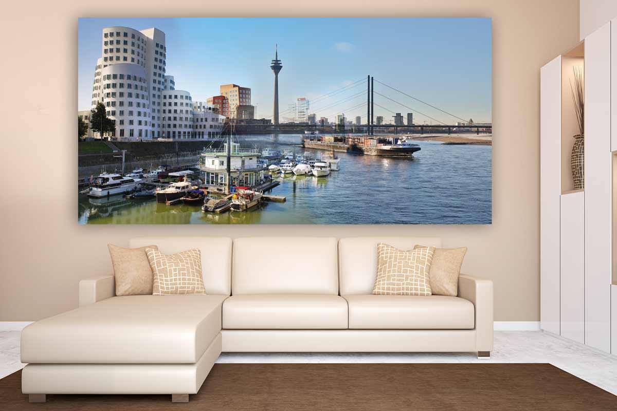 leinwandbilder medienhafen d sseldorf auf leinwand acryl und alu. Black Bedroom Furniture Sets. Home Design Ideas