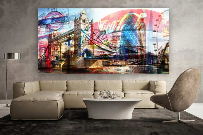 London Collage - Moderne Pop-Art Kunst und Panorama Bilder. Artwork