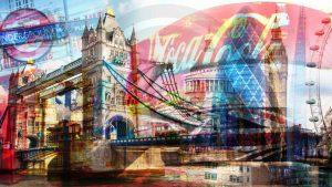 London Collage - Moderne Pop-Art Kunst und Panorama Bilder. Artwork