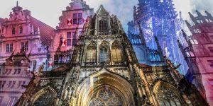 Münster Bilder im Panorama Pop-Art Design. Leinwand und Acryl Kunst