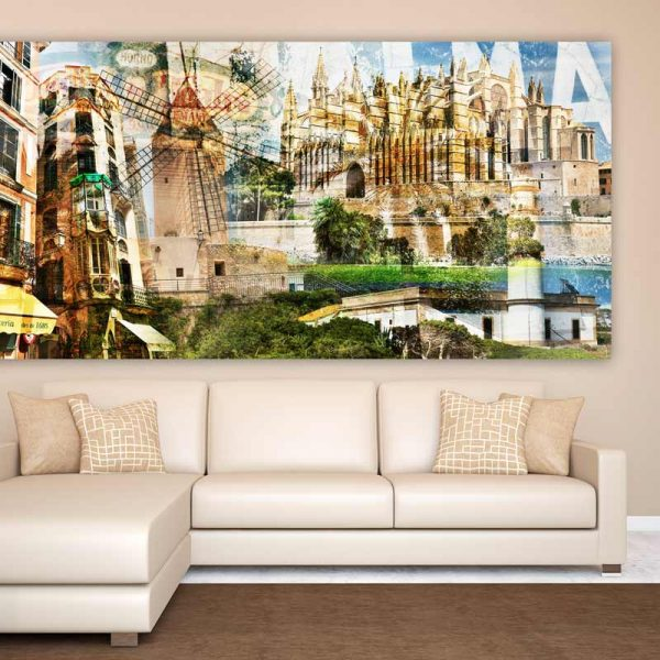 mallorca collage auf acryl und leinwand kunst panorama bilder palma. Black Bedroom Furniture Sets. Home Design Ideas