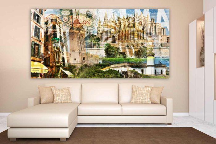Mallorca Collage auf Acryl und Leinwand. Kunst Panorama Bilder Palma