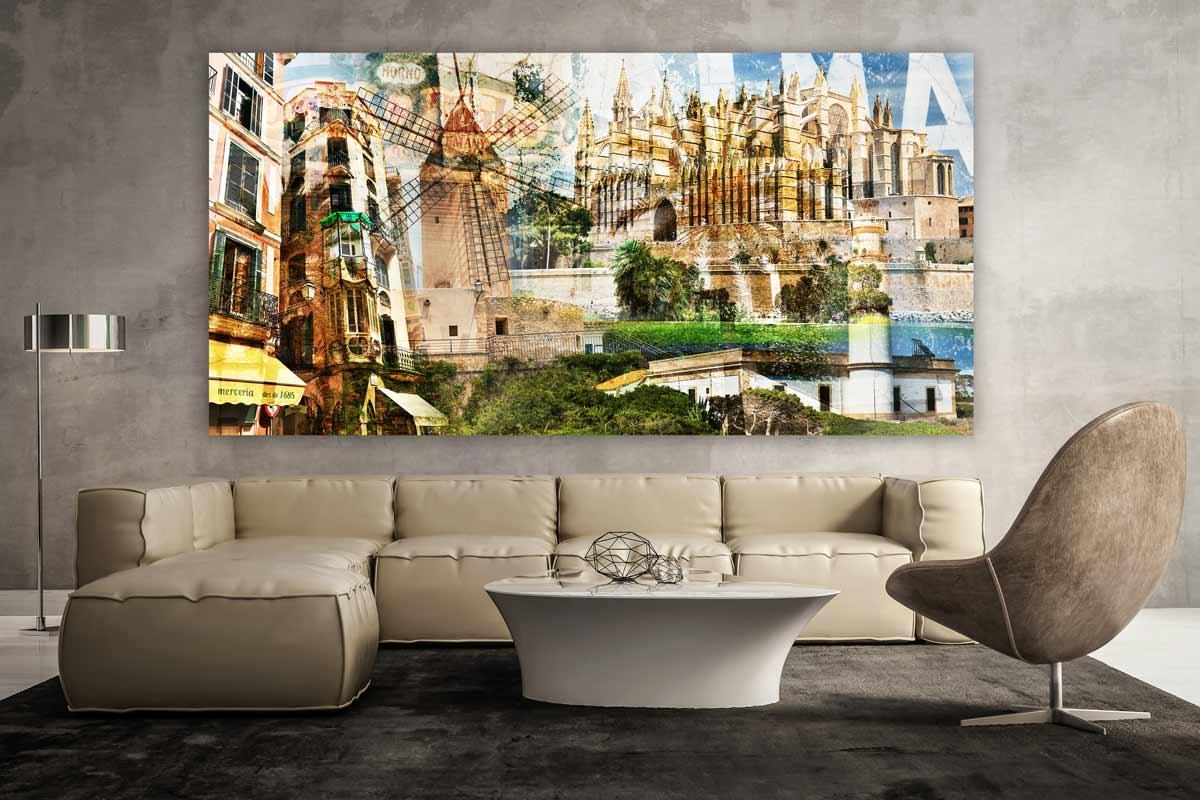mallorca collage auf acryl und leinwand kunst panorama bilder palma. Black Bedroom Furniture Sets. Home Design Ideas