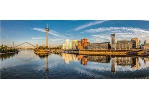 Medienhafen Panorama Bild. 180 Grad Ansichten aus Düsseldorf