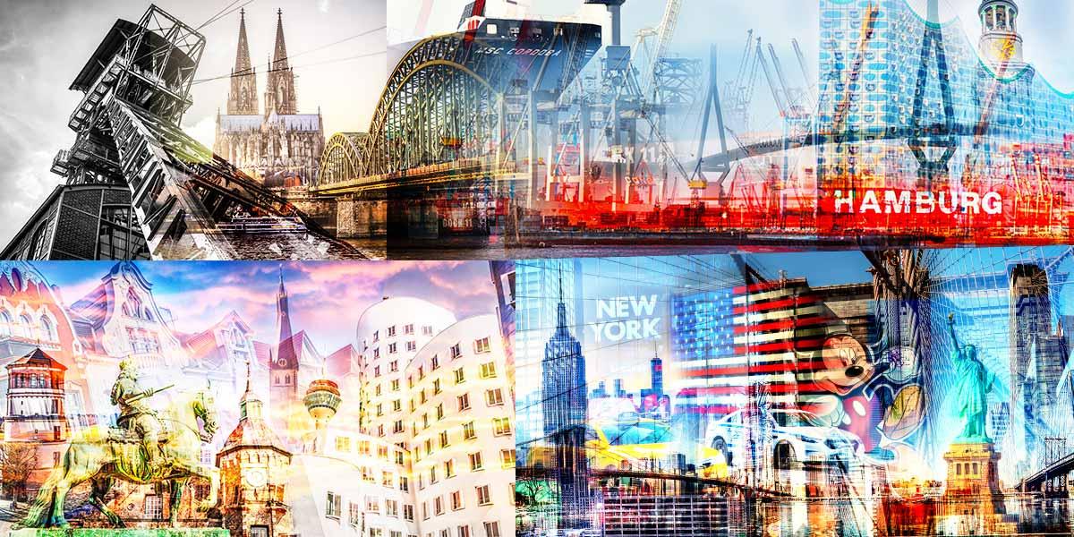 Moderne Stadt Kunst Bilder aus Düsseldorf, Hamburg, Köln und New York