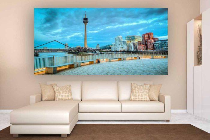 Medienhafen Düsseldorf Nachtaufnahme | Foto Art Panorama Bild aus dem Medienhafen bei Nacht