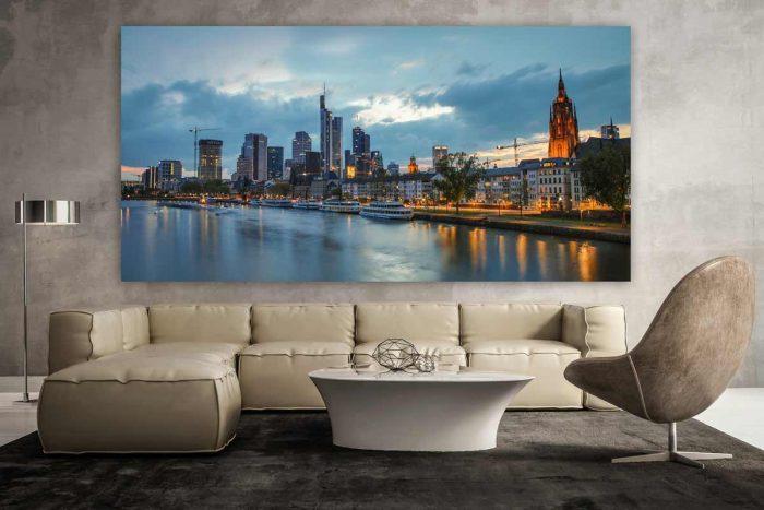 Nachtpanorama Frankfurt am Main. Tolle Kunst Bilder mit der Skyline