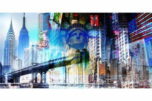 New York Collage im XL Panorama Kunst Format für die Wand.