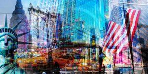 New York Kunst Collage und Pop-Art Panorama auf Acryl und Leinwand