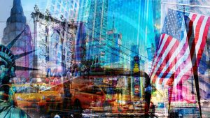 New York Kunst Collage und Pop-Art Panorama auf Acryl und Leinwand