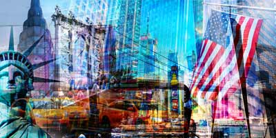 New York-Kunstbilder-und-Panorama-Pop-Art-Collagen-Motive