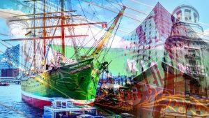 Panorama Acrylbilder aus Hamburg, Stadt vom Elbe, Michel und Alster