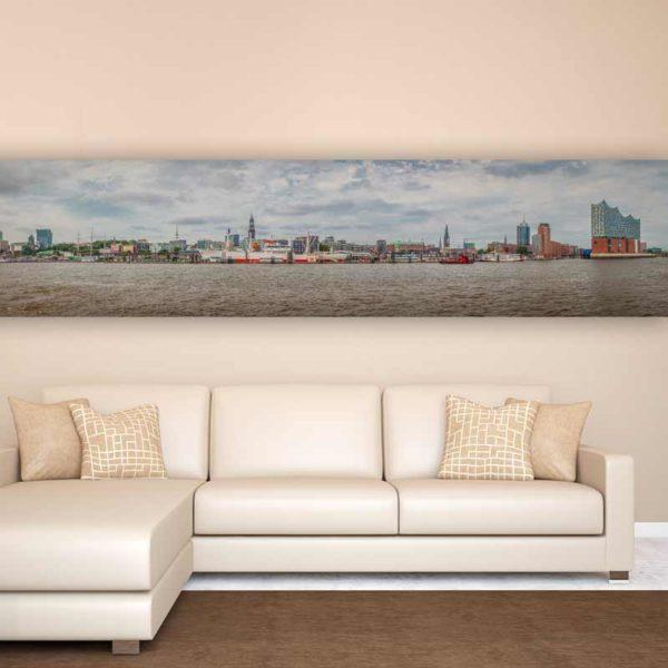 panorama bild hamburg an der elbe tolle skyline der. Black Bedroom Furniture Sets. Home Design Ideas
