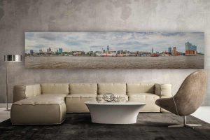 Panorama Bild Hamburg an der Elbe. Tolle Skyline der Hansestadt