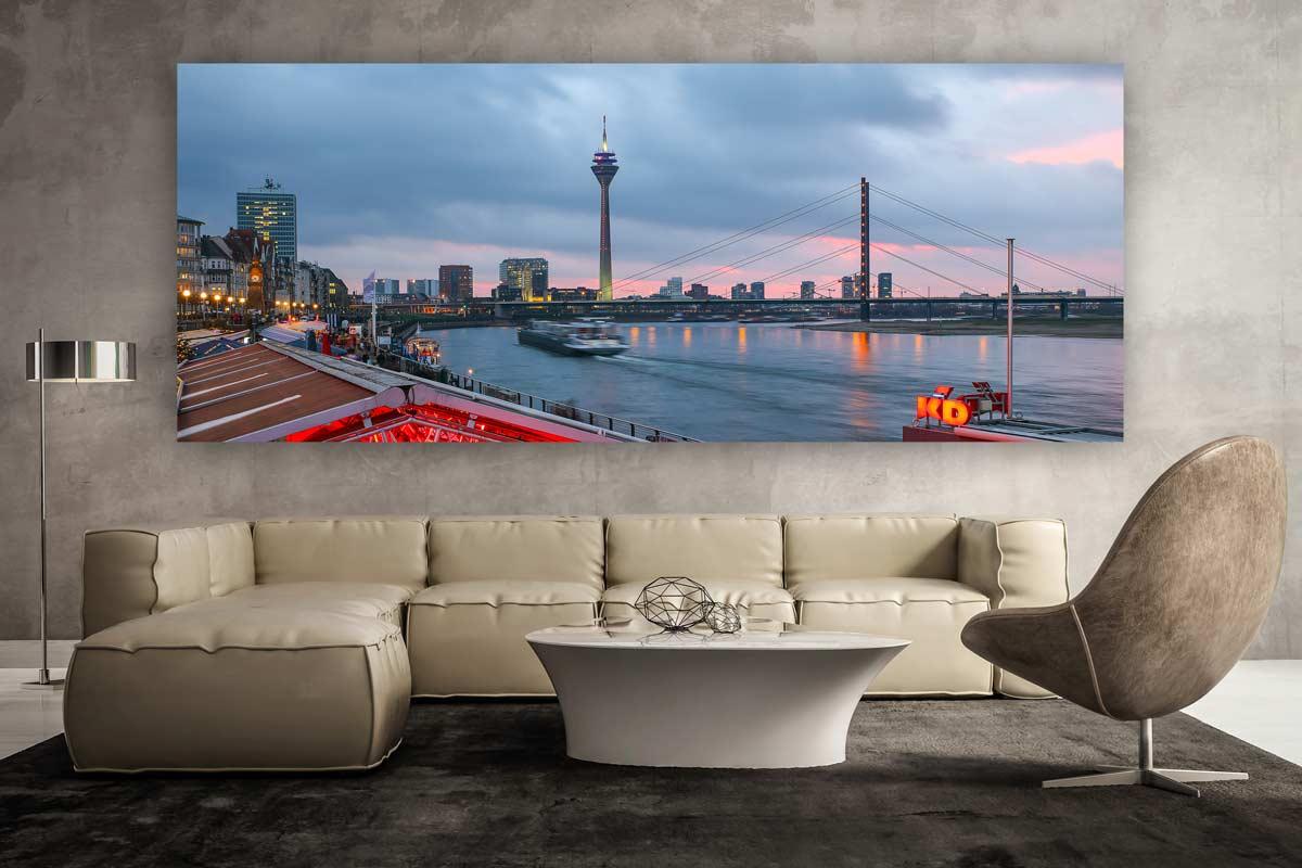 panorama bilder d sseldorf stadt motive auf leinwand vom medienhafen. Black Bedroom Furniture Sets. Home Design Ideas