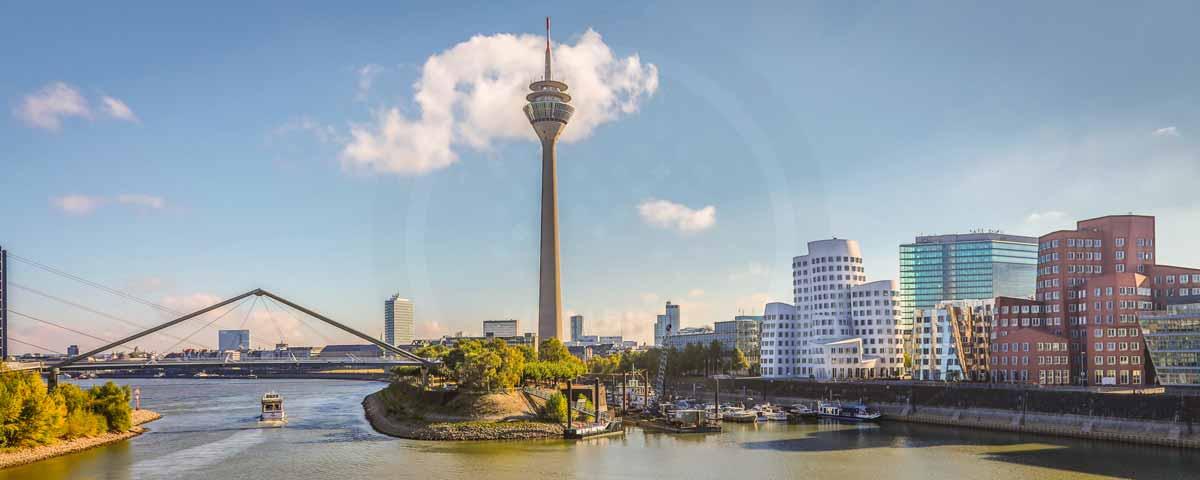 Panorama Düsseldorf Medienhafen - Moderne Kunst Bilder und Fotografie