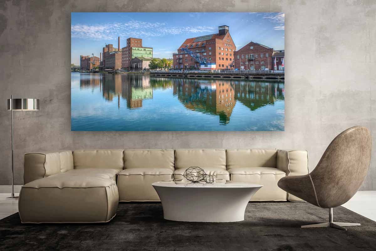 panorama duisburg innenhafen als wandbild auf leinwand und acryl. Black Bedroom Furniture Sets. Home Design Ideas