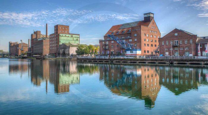 Panorama Duisburg Innenhafen als Wandbild auf Leinwand und Acryl