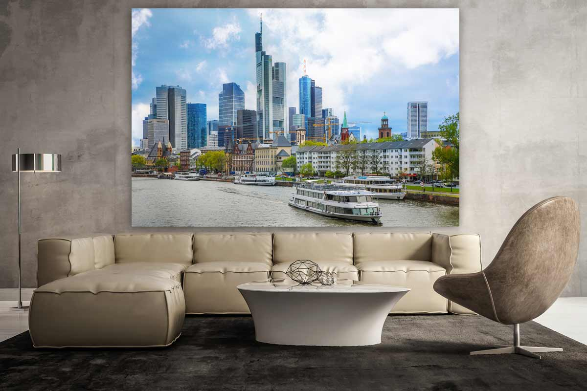 panorama frankfurt am main und stadt skyline tolles xxl. Black Bedroom Furniture Sets. Home Design Ideas