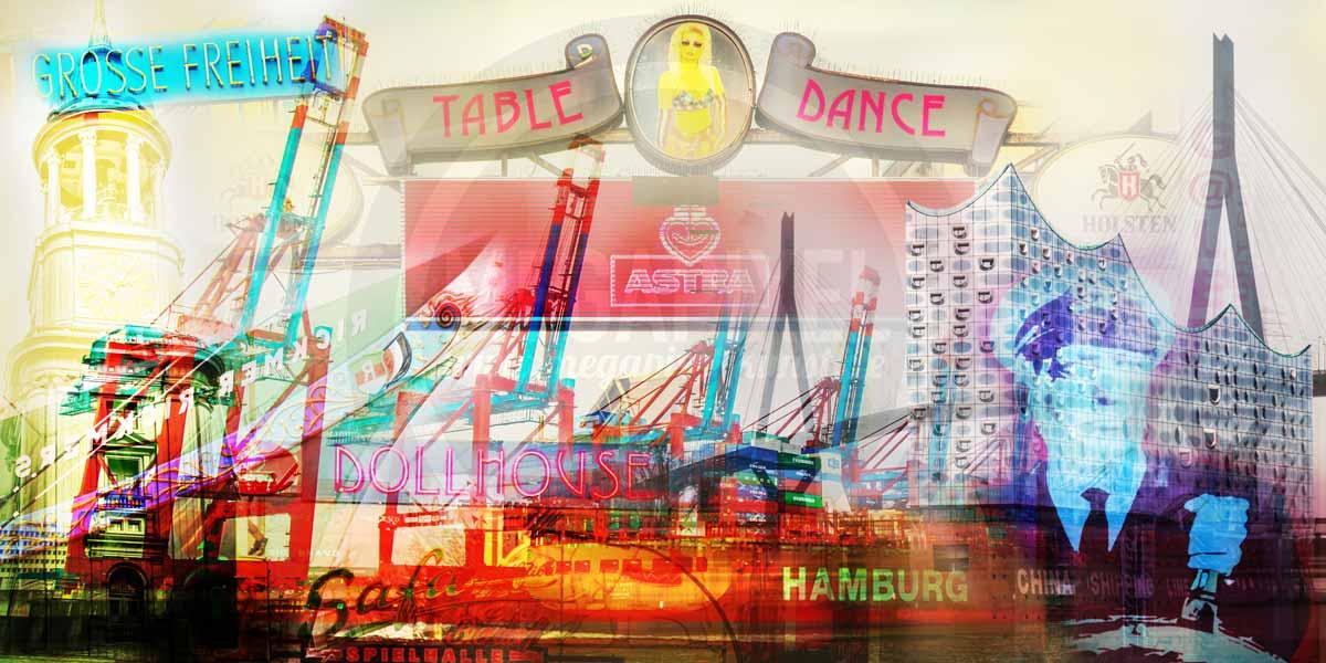 panorama hamburg pop art kunst collage von alster und elbe. Black Bedroom Furniture Sets. Home Design Ideas