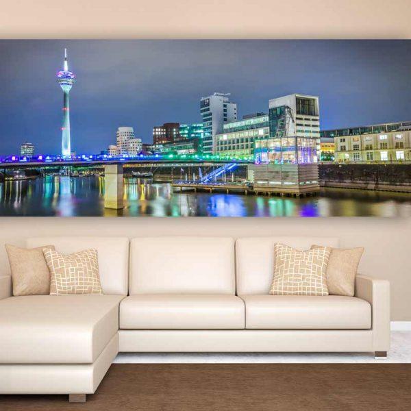 panorama medienhafen d sseldorf kunst bilder auf leinwand. Black Bedroom Furniture Sets. Home Design Ideas