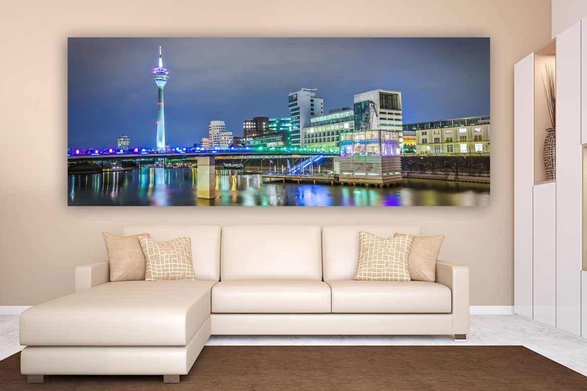 panorama medienhafen d sseldorf kunst bilder auf leinwand und acryl. Black Bedroom Furniture Sets. Home Design Ideas
