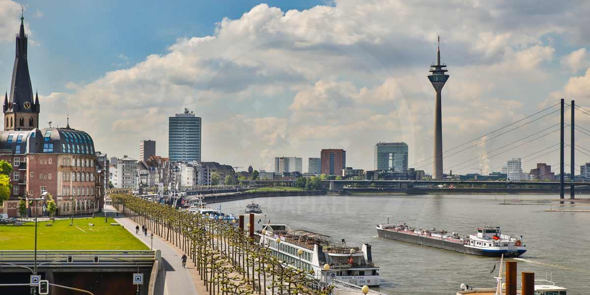 Panorama motive und kunst bilder aus d sseldorf mit skyline und hafen - Dusseldorf bilder auf leinwand ...