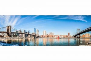 Panorama New York City View. Brooklyn und Hudson River Bilder.