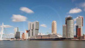 Panorama Rotterdam   Kunst Skyline Bild mit moderner Architektur
