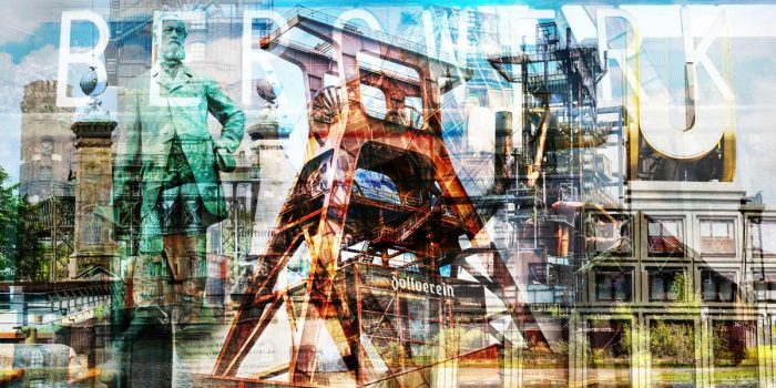 Panorama Ruhrgebiet mit Kunst Pop-Art Motiven aus Essen und Dortmund