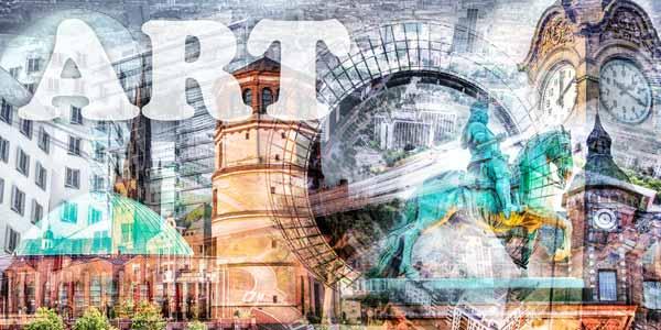 Moderne Pop-Art Kunst Collage Medienhafen Düsseldorf auf Leinwand