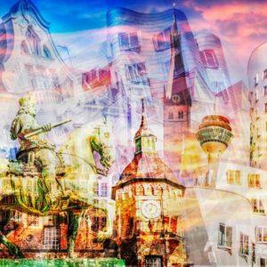 Pop-Art Collage der Stadt Düsseldorf - Leinwand Kunst und Acryl