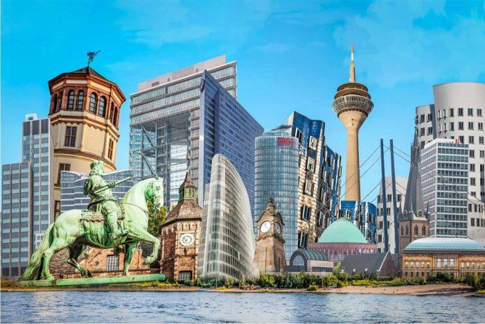 Pop-Art Collage aus der Stadt Düsseldorf. XL Kunstbilder