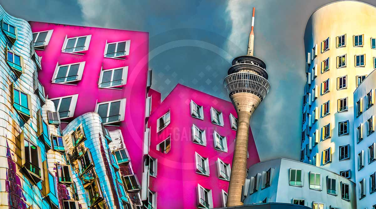 Pop-Art Düsseldorf Leinwandbild und Kunstdruck aus dem Medienhafen
