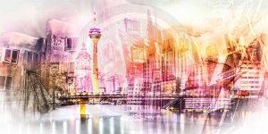 Pop-Art Kunst Collage Düsseldorf. Moderne Leinwandbilder vom Rhein
