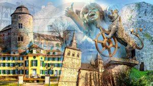 Ratingen Collage | Modernes Kunst Panorama Bild der Stadt