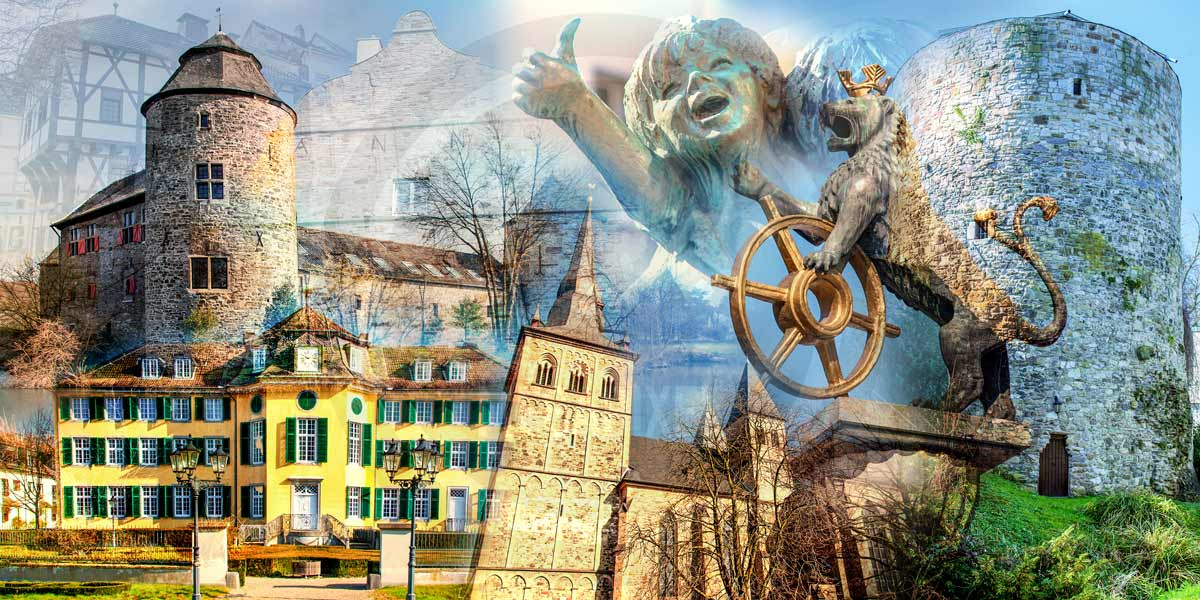 Ratingen Collage | Modernes Kunst Panorama Bild der Stadt