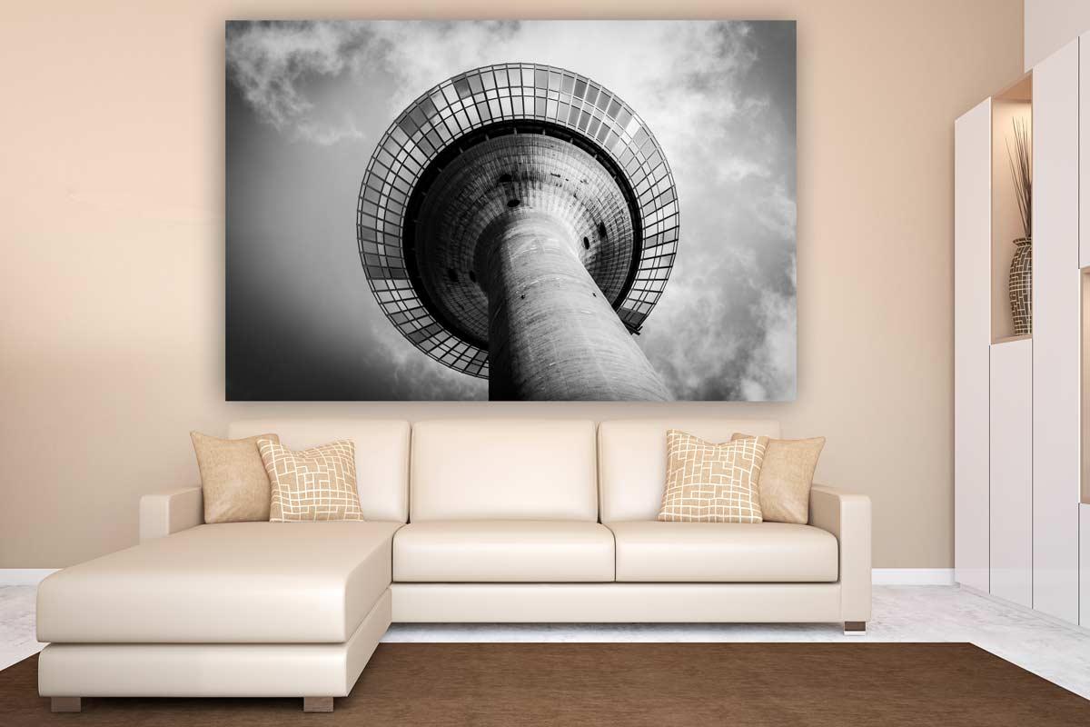 rheinturm panorama bilder aus d sseldorf am rhein skyline leinwand. Black Bedroom Furniture Sets. Home Design Ideas