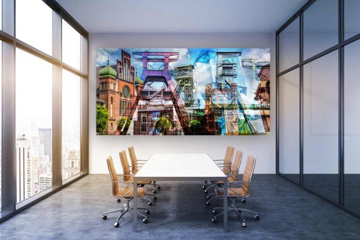 Ruhrgebiet Bilder und Pop Art Collage. Panorama Zechen Kunst und Art