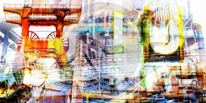 Ruhrgebiet Pop-Art Collage a. Leinwand & Acryl. Modernes Panorama