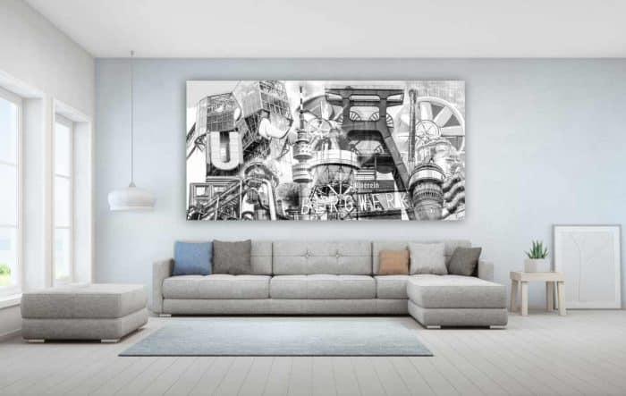 Schwarz Weiß Ruhrgebiet Bilder und moderne Panorama Acryl Kunst