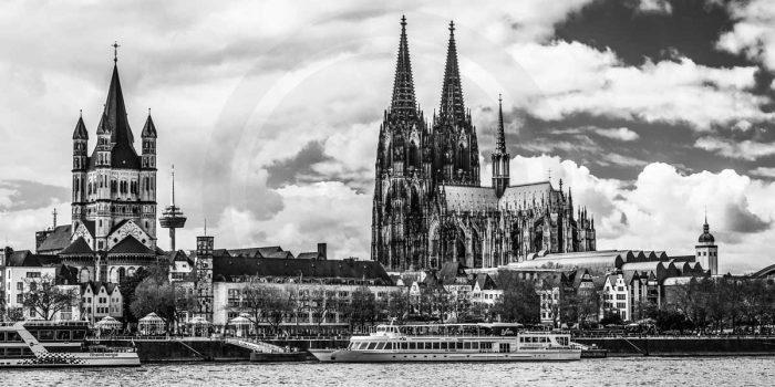 Schwarz-weiss Köln Panorama Bild | Moderne Kunst aus der Domstadt