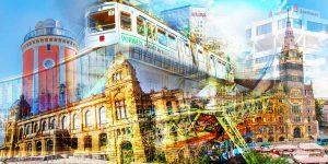Schwebebahn Wuppertal Kunst Collage | Modernes Design Panorama Bild