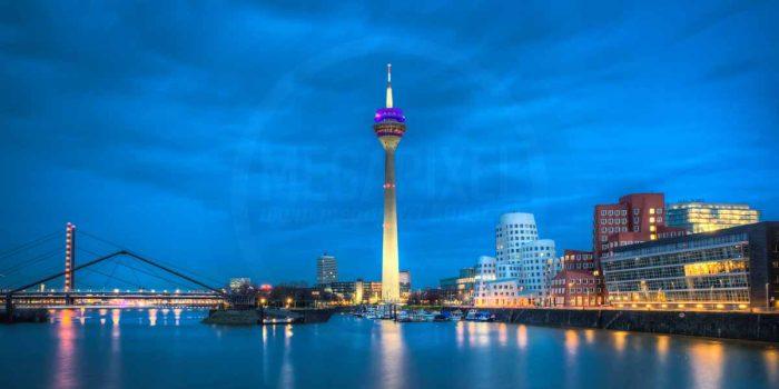 Skyline Düsseldorf Panorama Medienhafen Düsseldorf| Düsseldorf Nachtaufnahme im XL Format