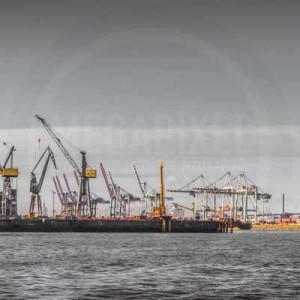 Skyline Hamburg Hafen Panorama | Elbstadt Aussicht mit Kränen