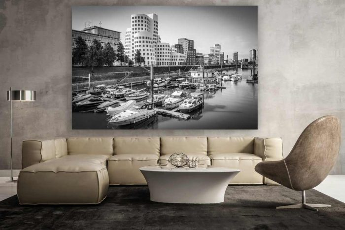 Skyline Medienhafen Düsseldorf. Rhein Ansichten und Fotokunst