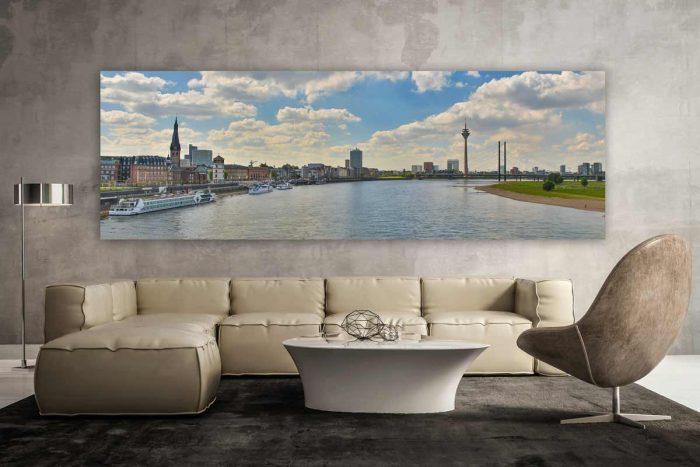 Skyline Panorama Bilder aus Düsseldorf am Rhein. Kunstbilder und Motive